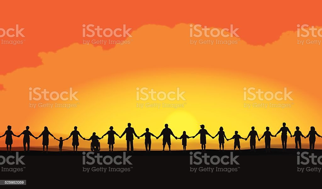 Teamwork, Holding Hands at Sunset Background vector art illustration