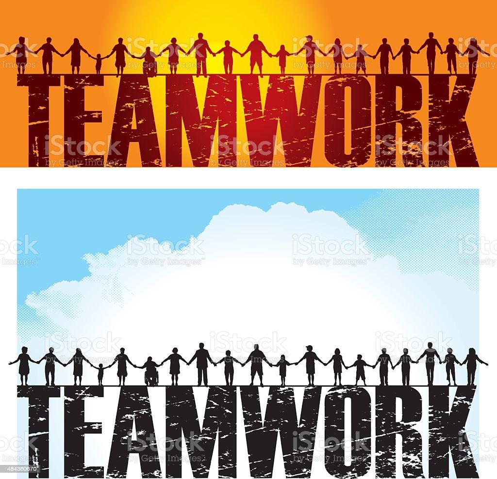 Teamwork - Holding Hands, Success vector art illustration