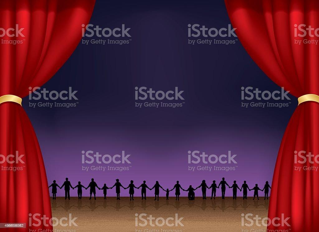 Teamwork Holding Hands Theater Stage Background vector art illustration