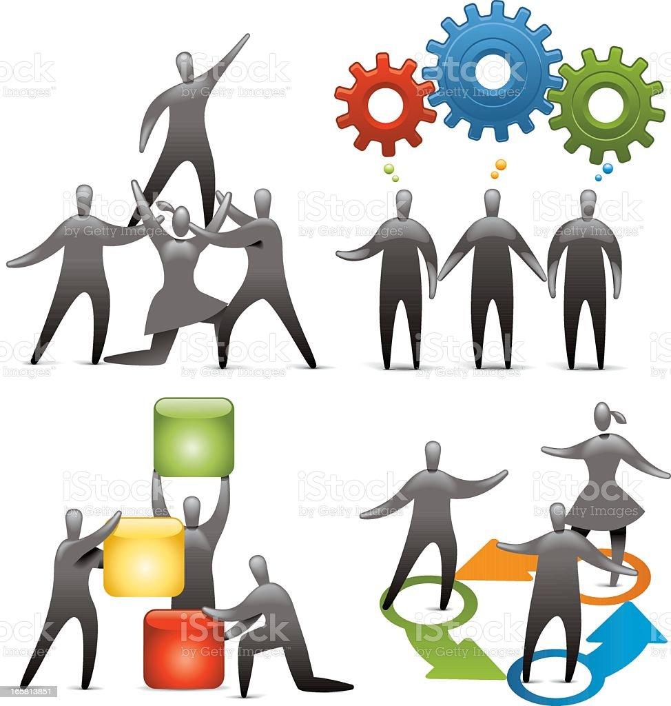 Teamwork Icon set royalty-free stock vector art