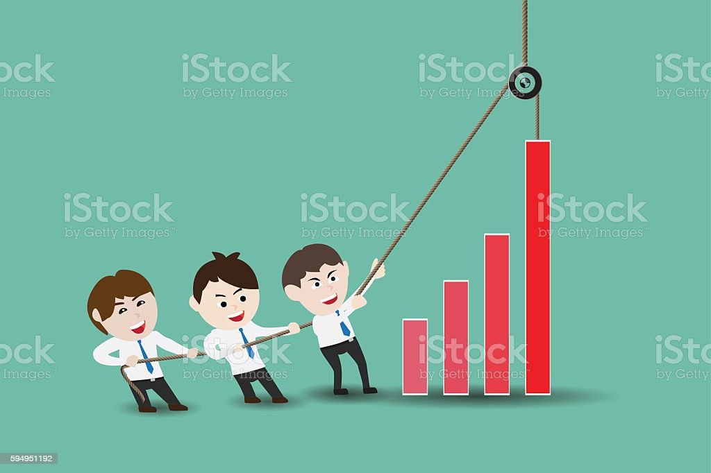 Teamwork leading to accelerate business growth vector art illustration