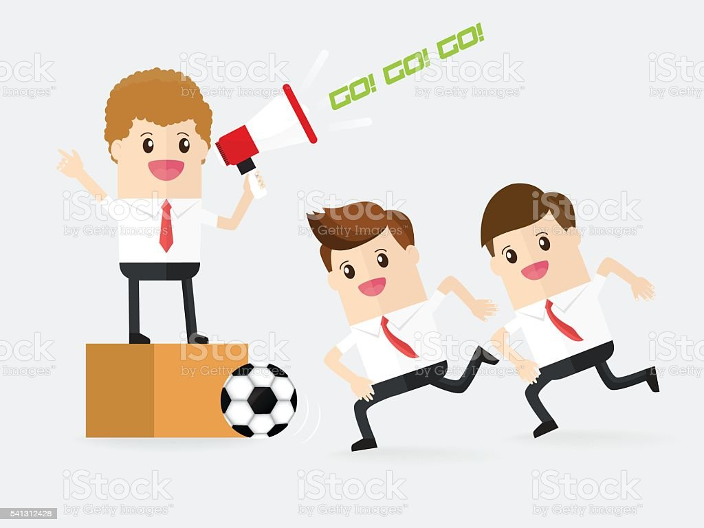 teamwork of businessman playing football or soccer vector art illustration