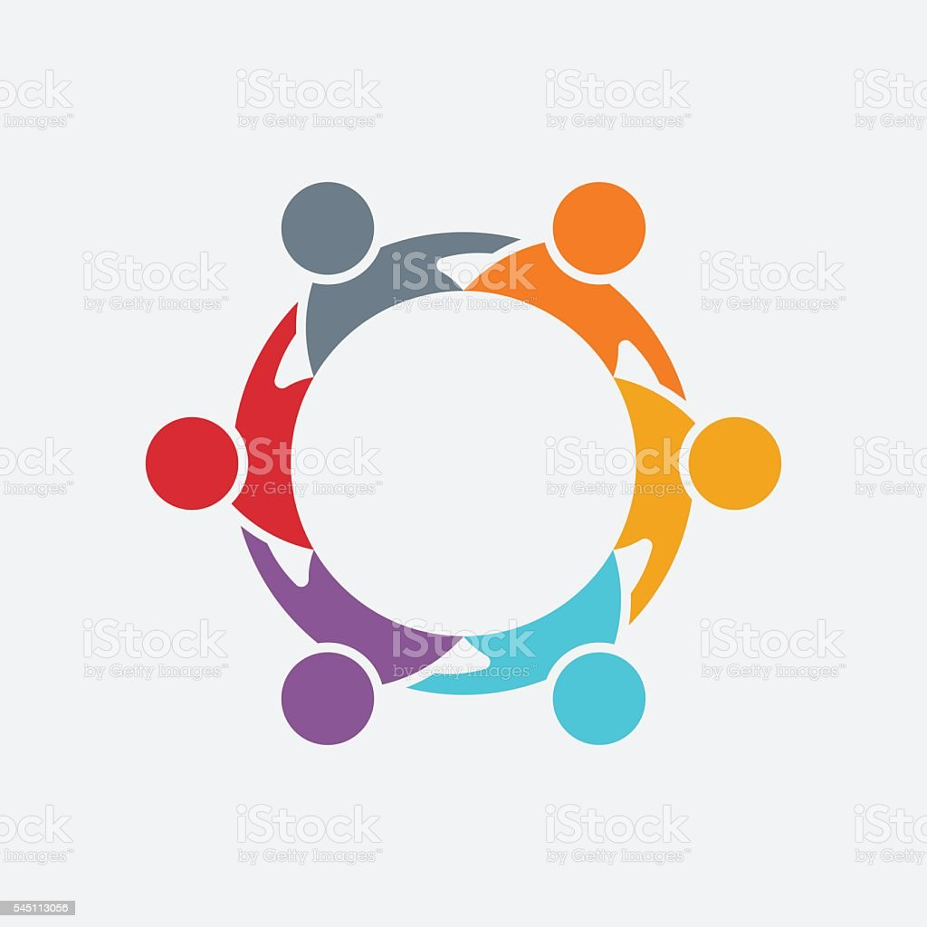 Teamwork People Group Logo. Vector Illustration vector art illustration