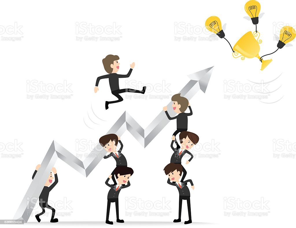 teamwork raise arrow with leader reaching up to get trophy vector art illustration