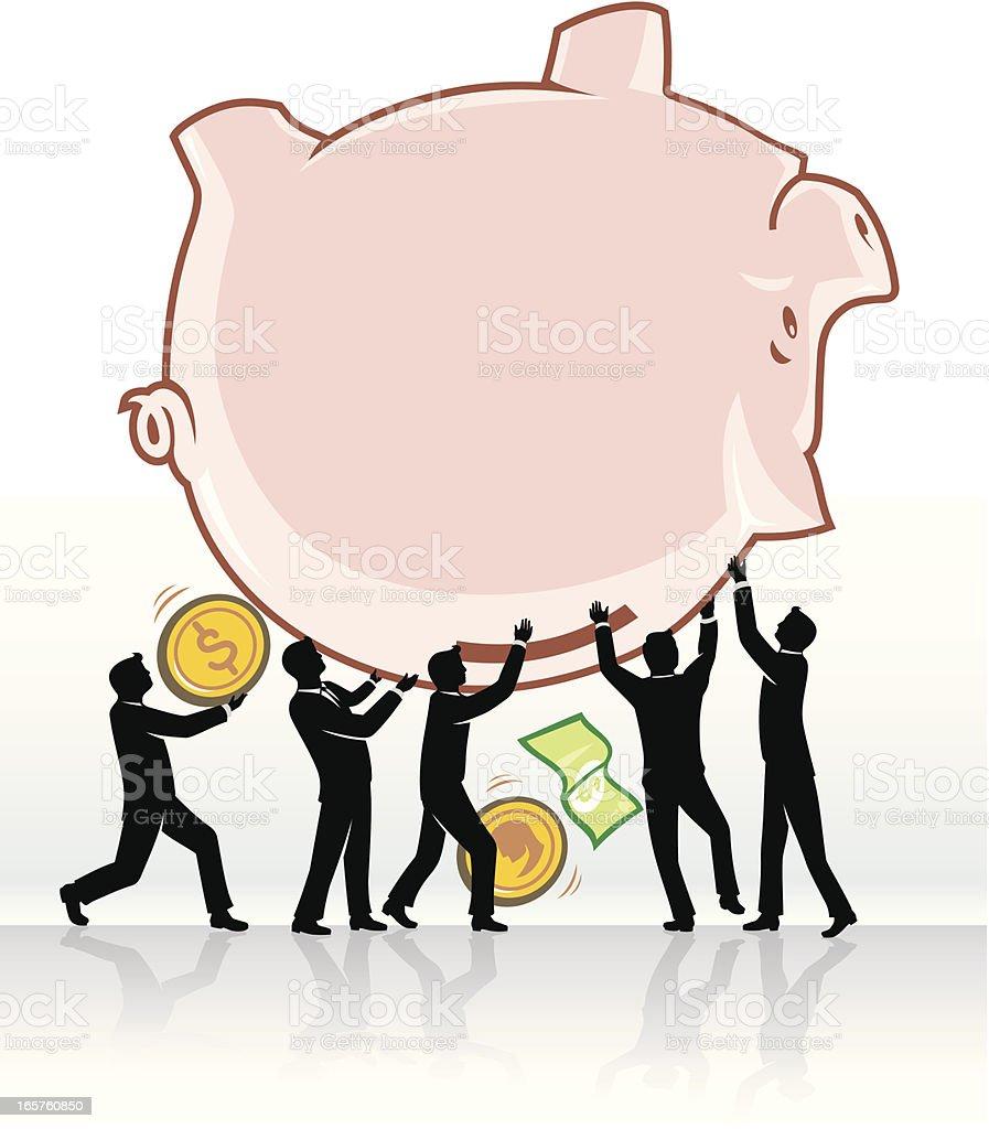 Teamwork Savings Withdrawal royalty-free stock vector art