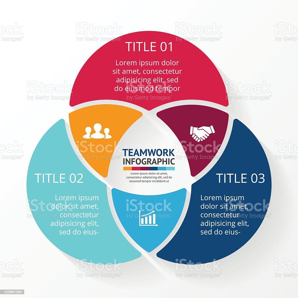 Teamwork social infographic, diagram, presentation. 3 options. vector art illustration