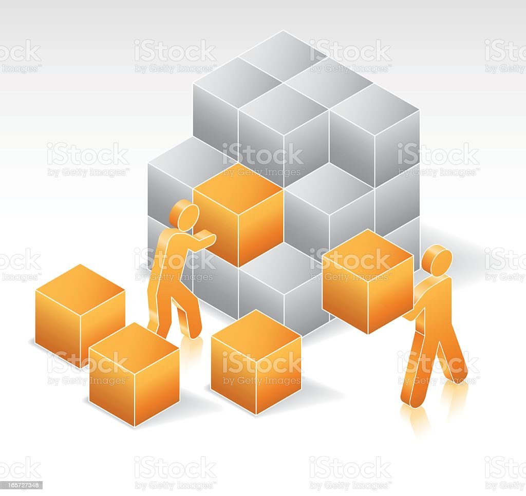 Teamwork solving problems and building with blocks royalty-free stock vector art
