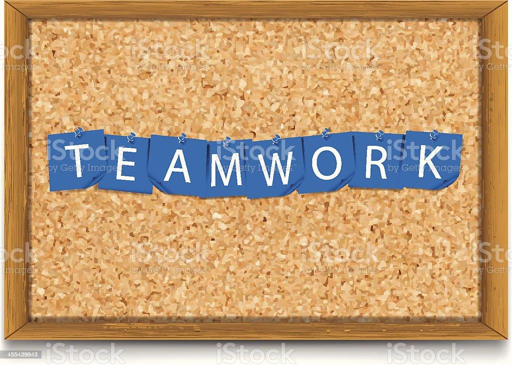Teamwork | Sticky Notes on Corkboard vector art illustration
