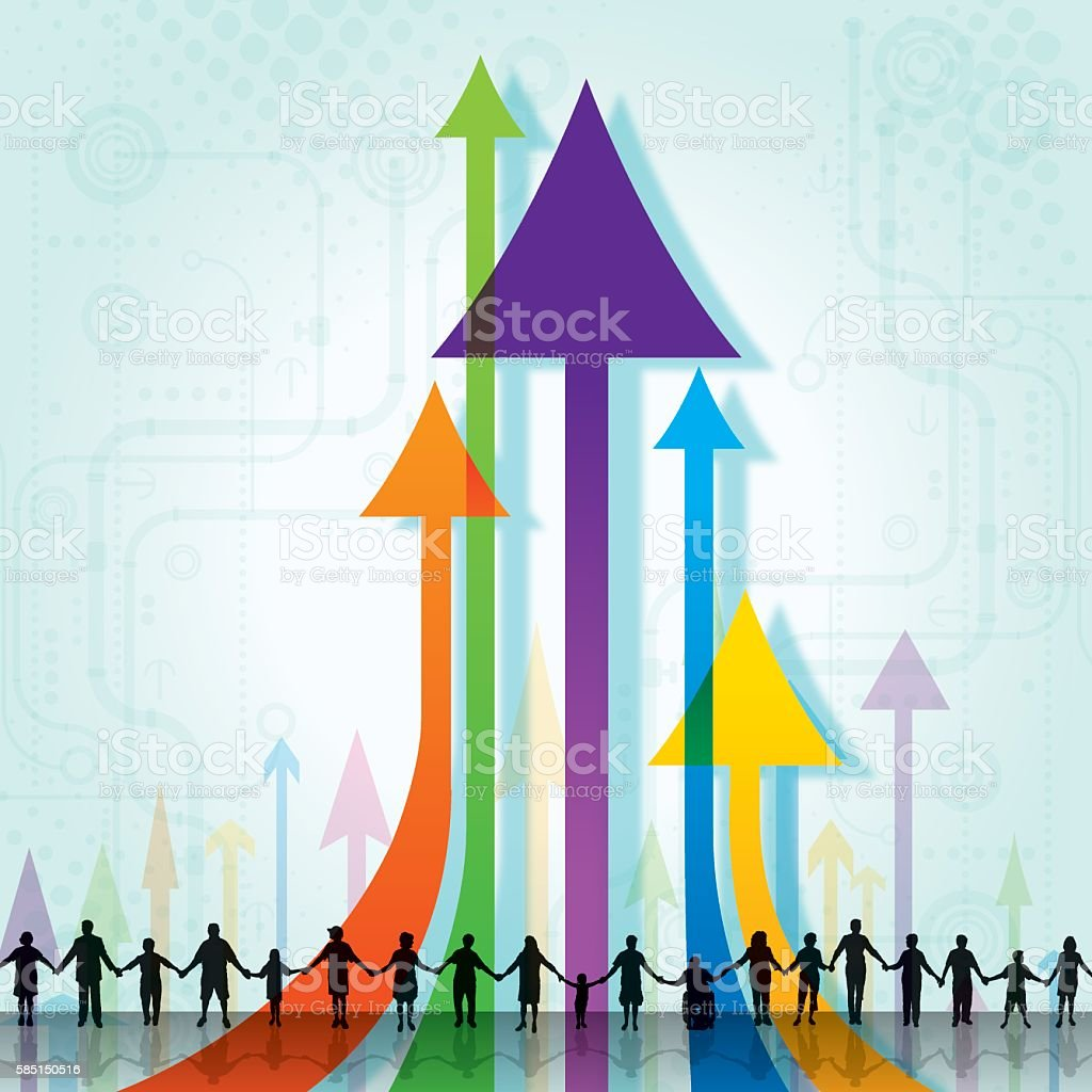 Teamwork, Success, Cooperation, Arrow Up, Progress Background vector art illustration