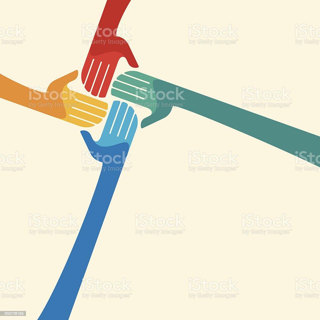 Teamwork symbol. Multicolored hands vector art illustration