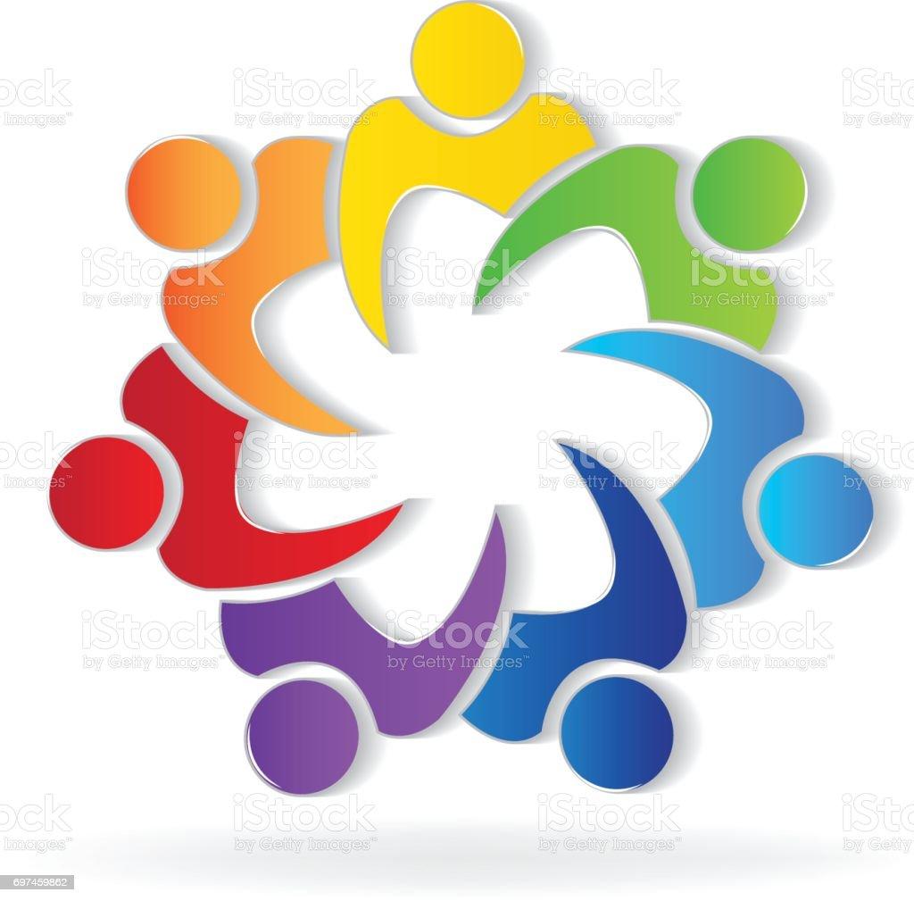 Teamwork union people image id card vector art illustration