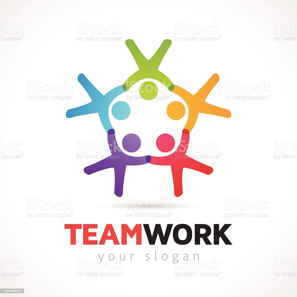 Teamwork Vector Concept With People Symbols vector art illustration