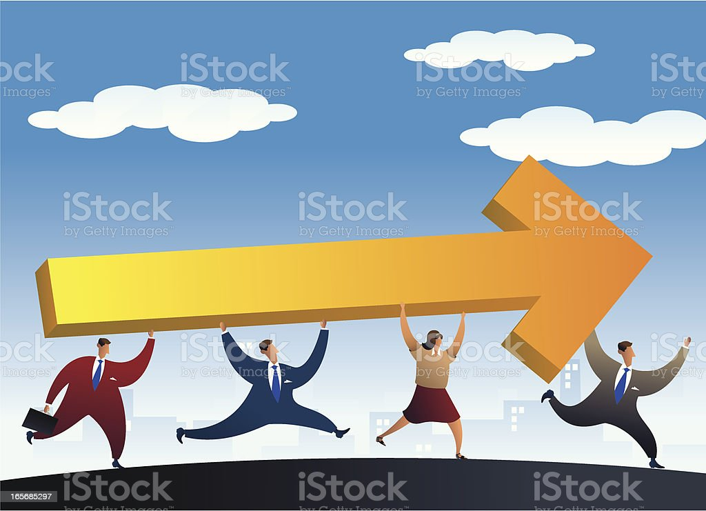 Teamwork with same goals vector art illustration