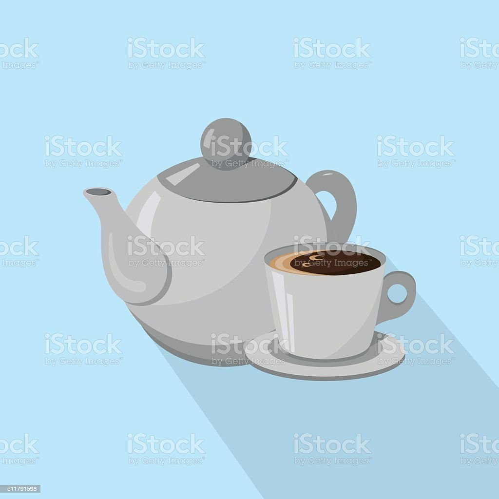 Teapot and Cup of coffee isolated on a white background vector art illustration