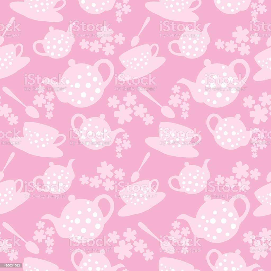 teapot and cup seamless pattern vector art illustration