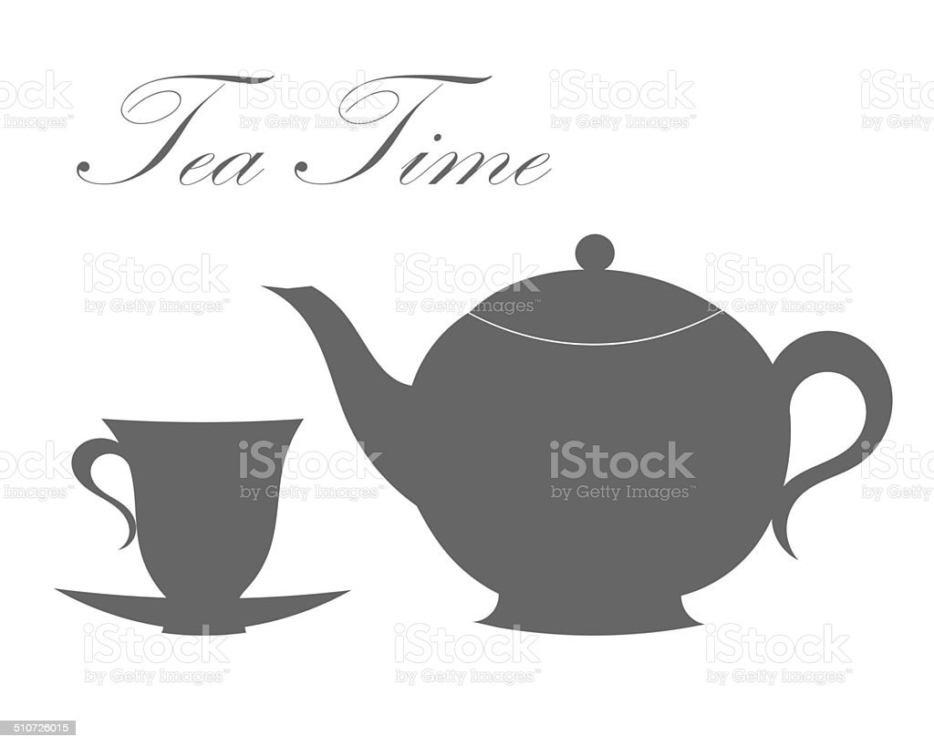 Teapot and tea cup vector art illustration
