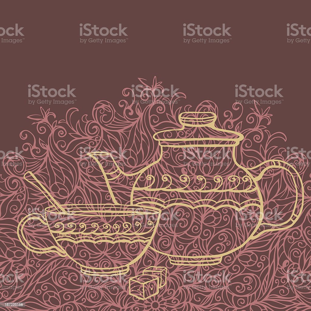 Teapot, cup, sugar and space for text royalty-free stock vector art