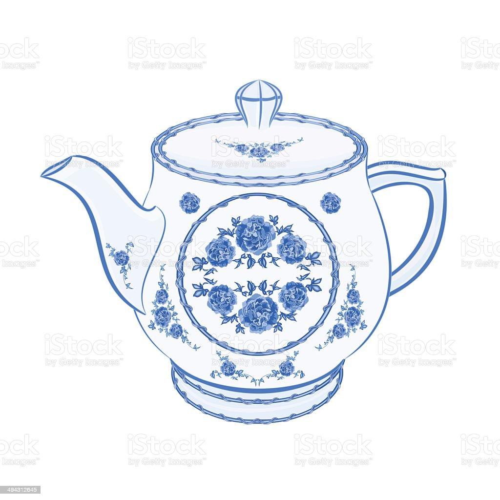 Teapot faience part of porcelain royalty-free stock vector art