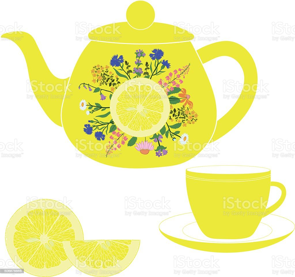 Teapot with cup, herbs and lime vector art illustration