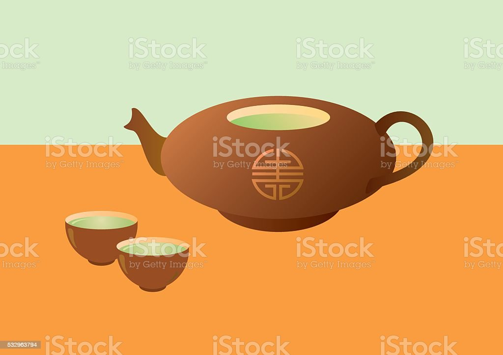 Teapot with tea and cups vector art illustration