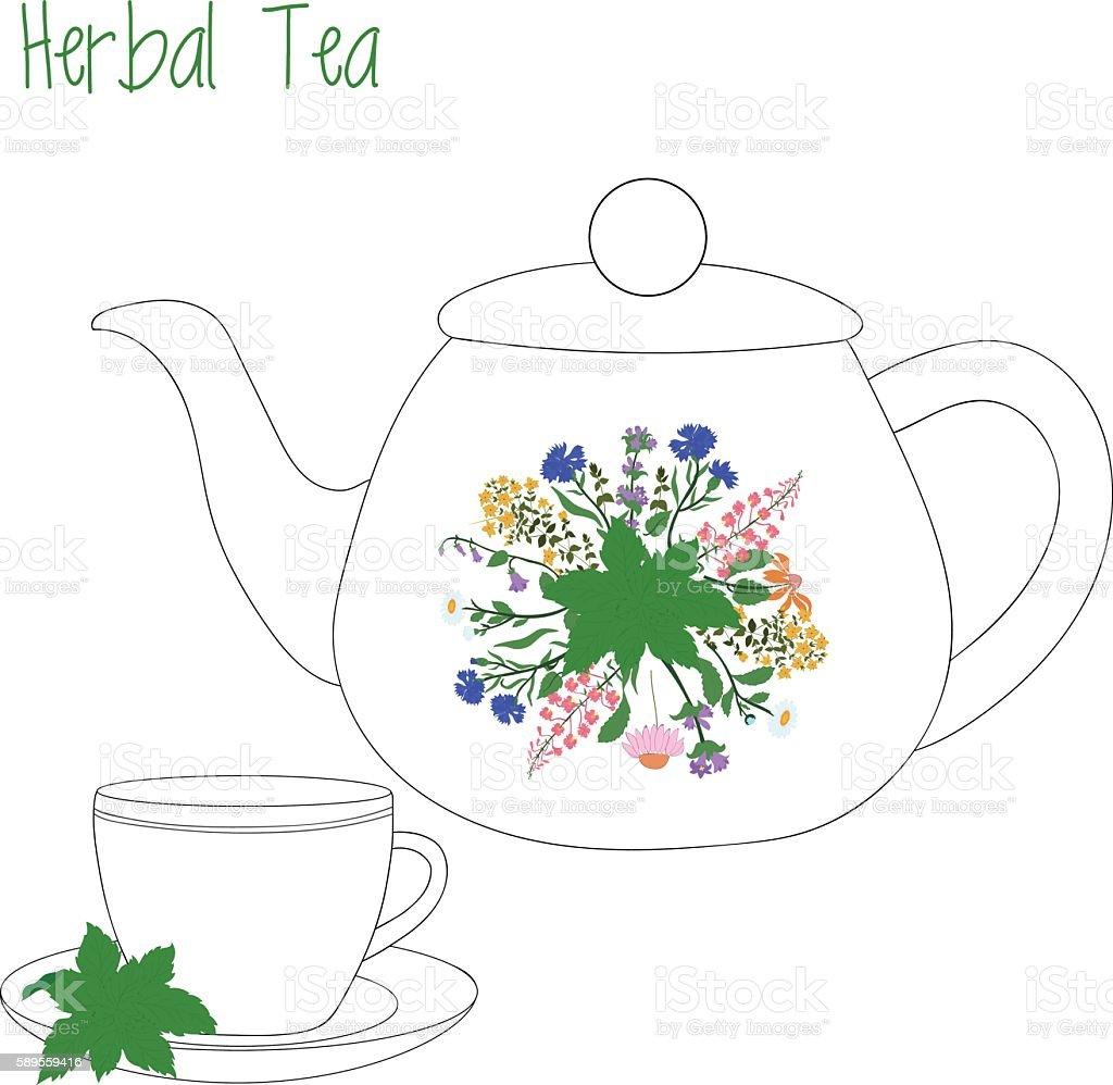 teapot with tea cups, herbal, green, vector illustration vector art illustration