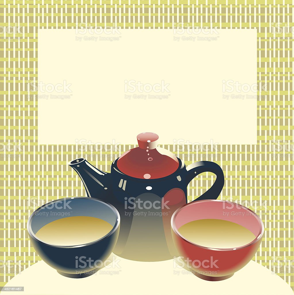 Teapot with two tea bowls on a mat background royalty-free stock vector art