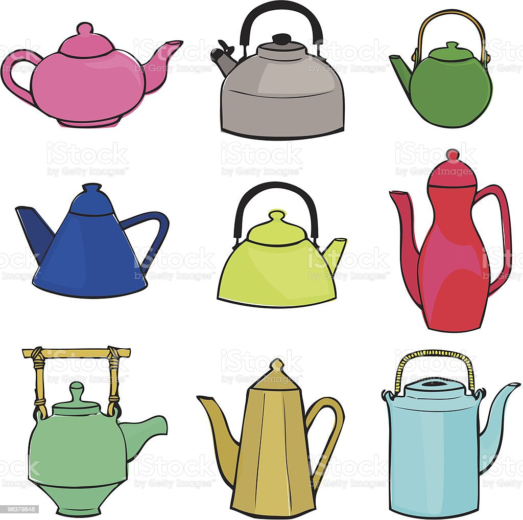 Teapots and Kettles icons royalty-free stock vector art