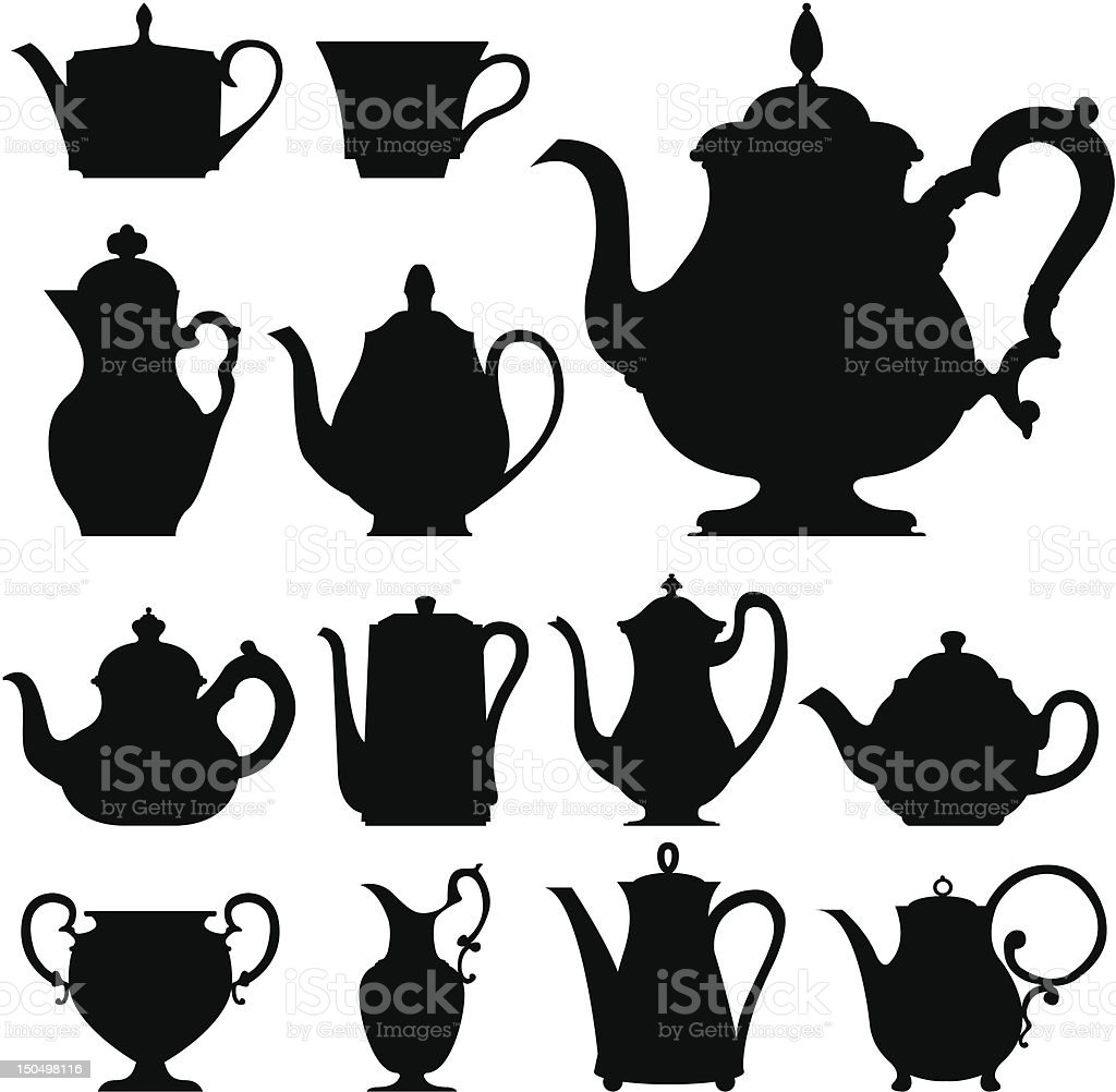 Teapots and teacups vector sihouettes vector art illustration