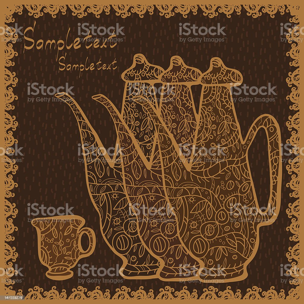 Teapots, cup and space for text royalty-free stock vector art