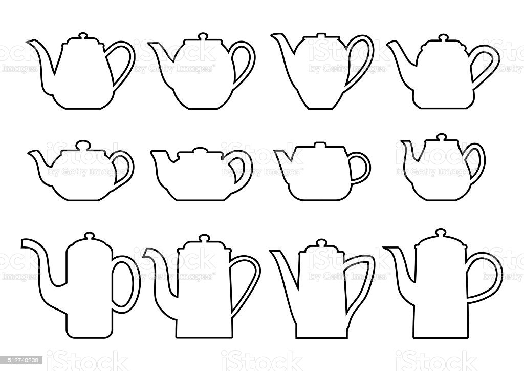 Teapots silhouettes of various shapes in thin line style. vector art illustration