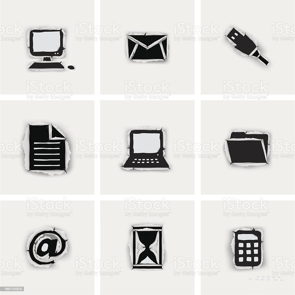 tear paper office icons royalty-free stock vector art