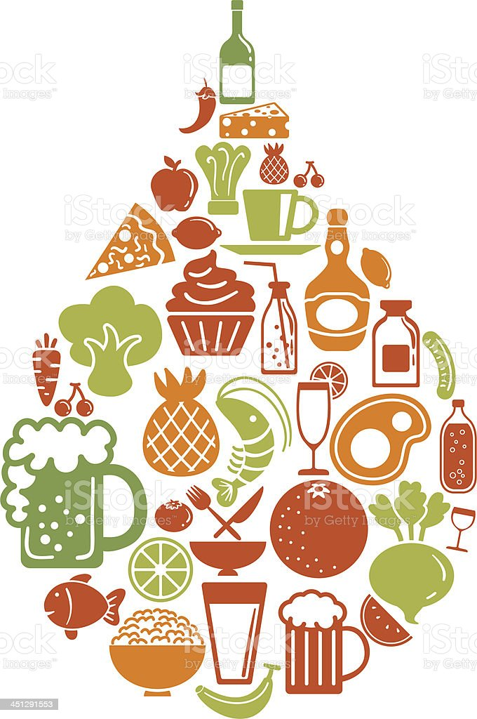 Teardrop shape pattern with food icon vector art illustration