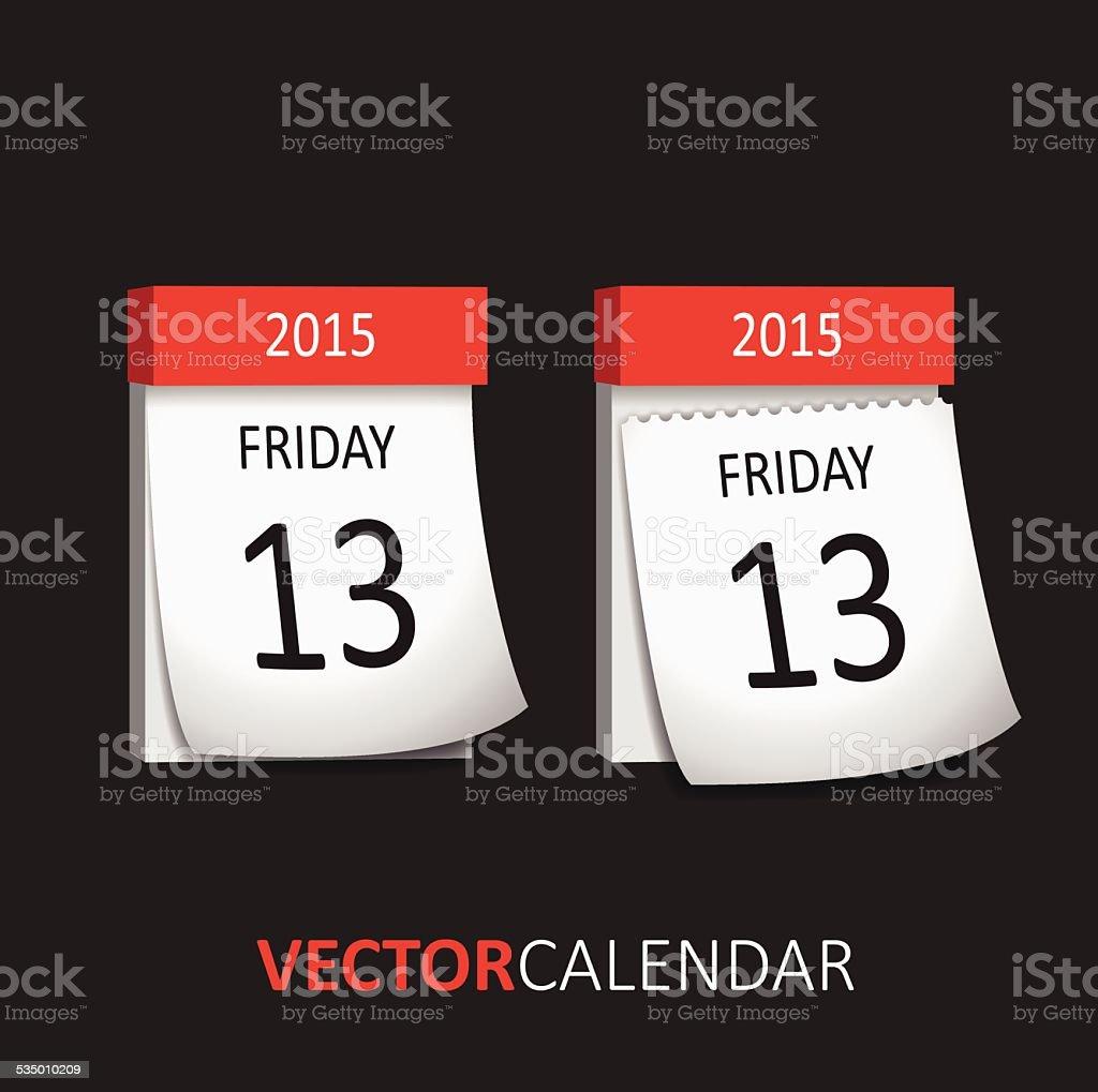 Tear-off Calendar - Friday 13 vector art illustration