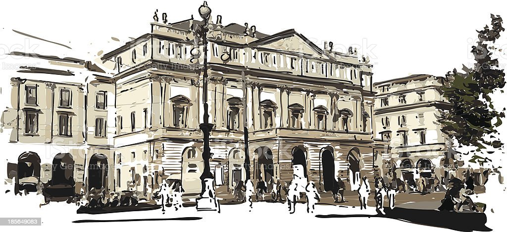 teartro La Scala vector art illustration