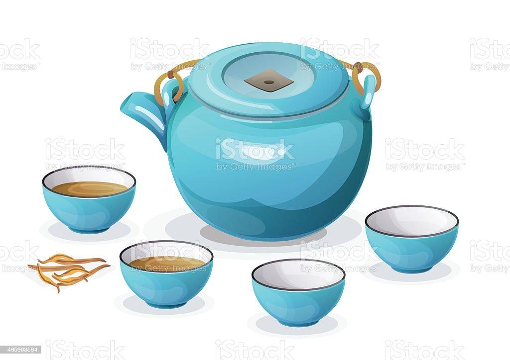 tea-set vector art illustration