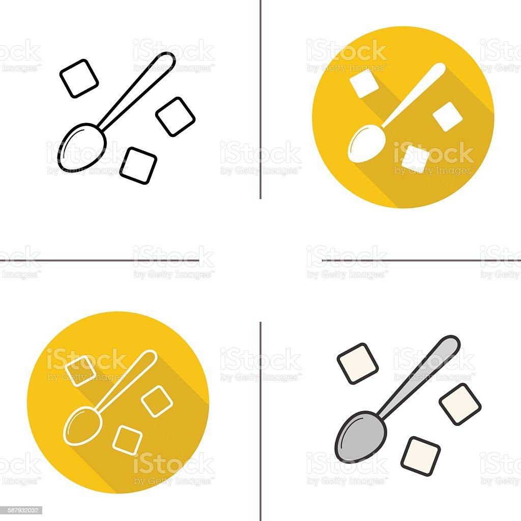 Teaspoon with sugar cubes icons vector art illustration