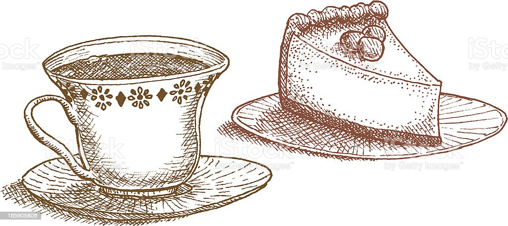 Teatime! — Cup o'  tea and slice of cake royalty-free stock vector art