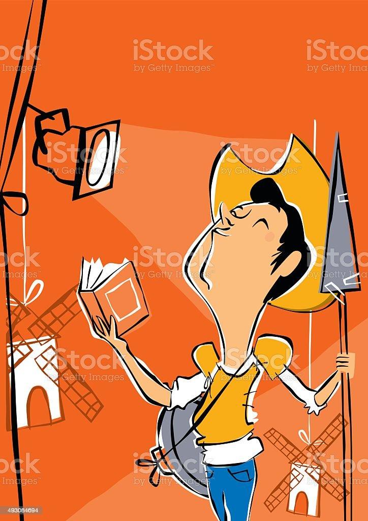 Teatro y Don Quijote de la Mancha vector art illustration