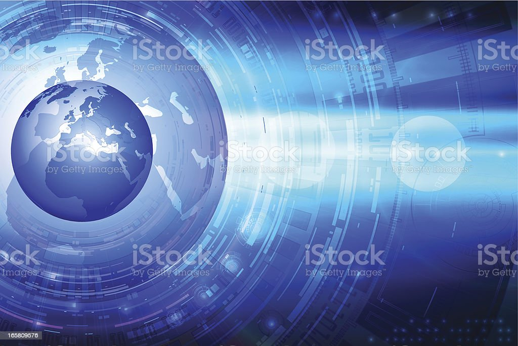 Tech background with globe. Europe. royalty-free stock vector art