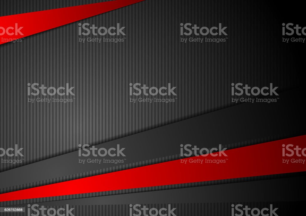 Tech black background with contrast red stripes vector art illustration