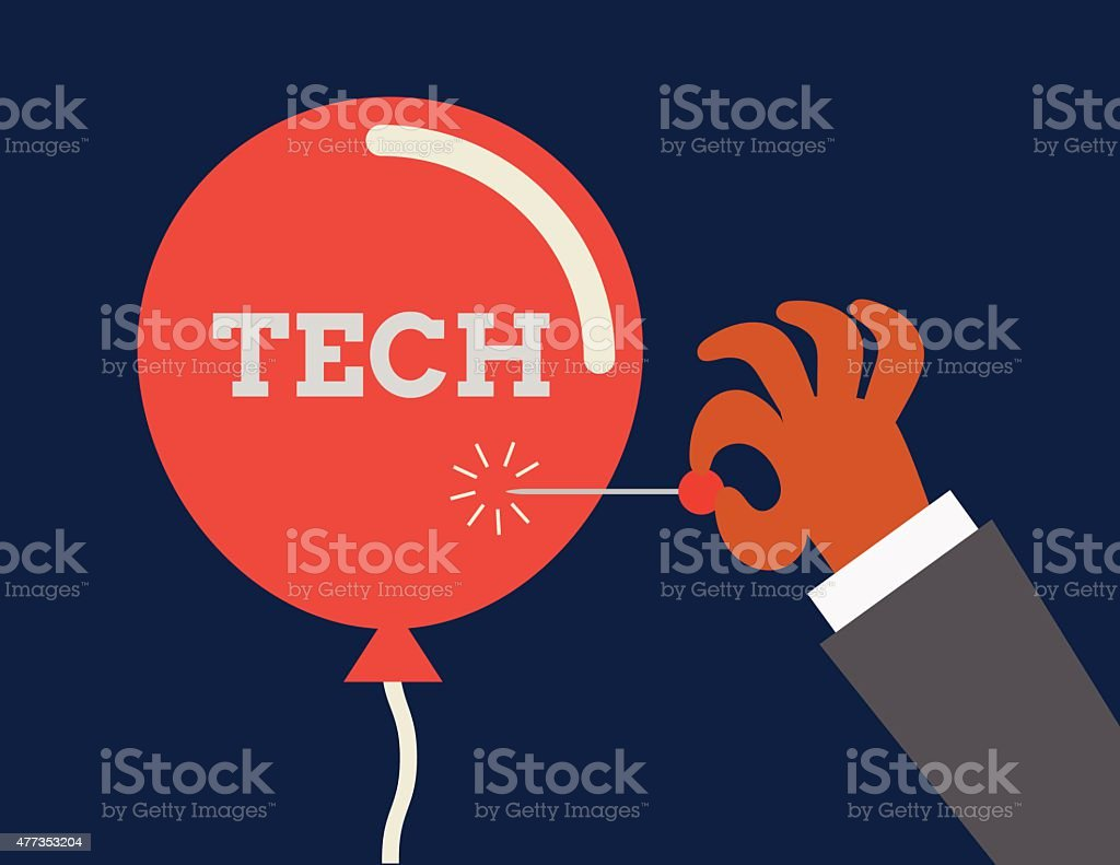 Tech bubble. Conceptual illustraion depicting inflation of technology sector. vector art illustration