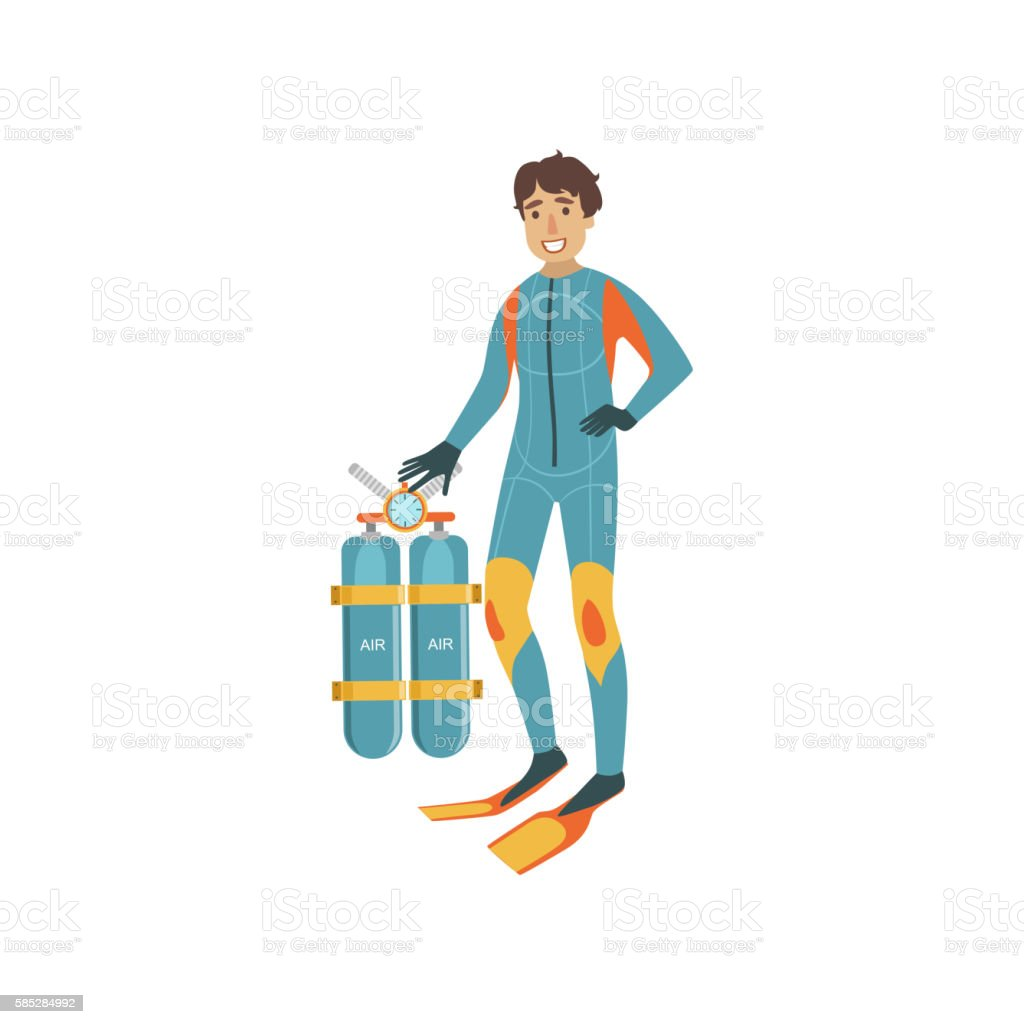 Tech Diver With Twin Tank Rebreather Set vector art illustration