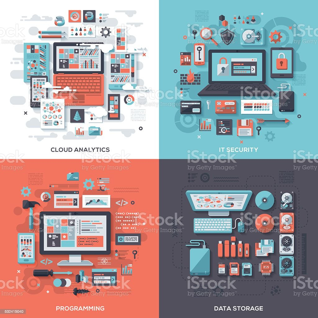 Tech & IT Security Flat Design Concepts vector art illustration