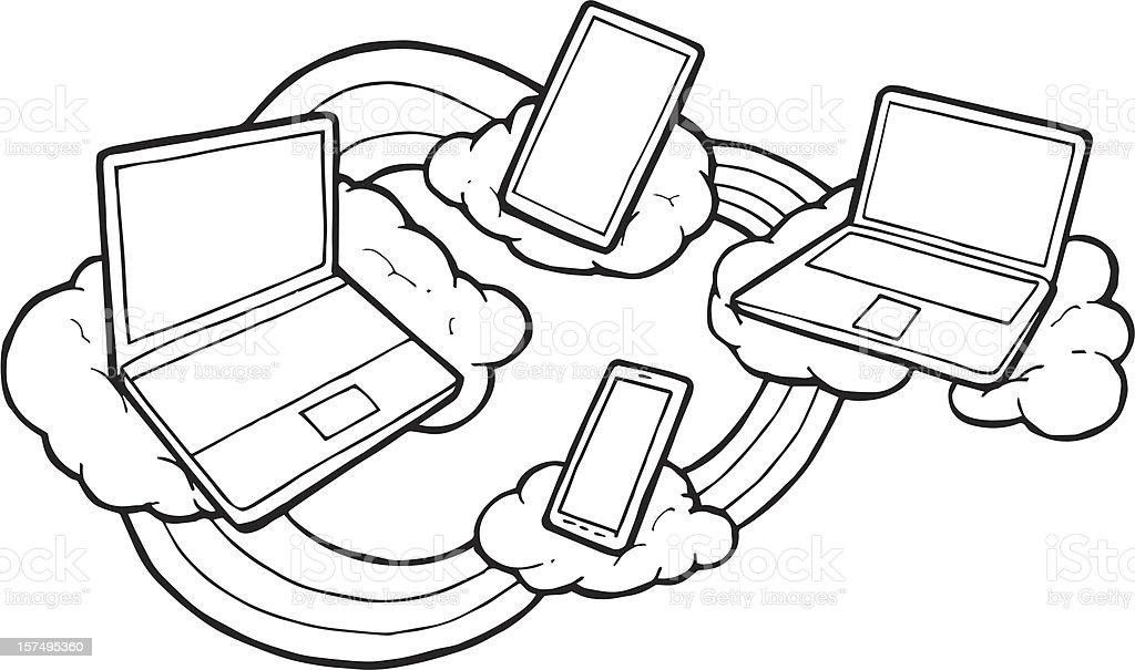 Tecnologia em nuvem de desenho à mão vetor e ilustração royalty-free royalty-free