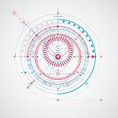 Technical blueprint, vector digital background with geometric design
