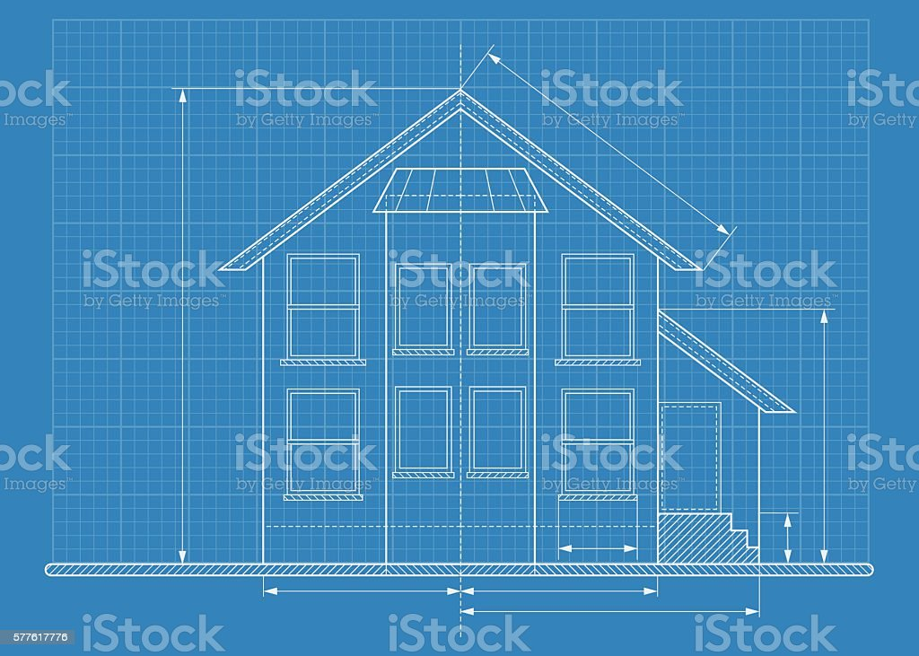 technical drawing house blueprint vector art illustration