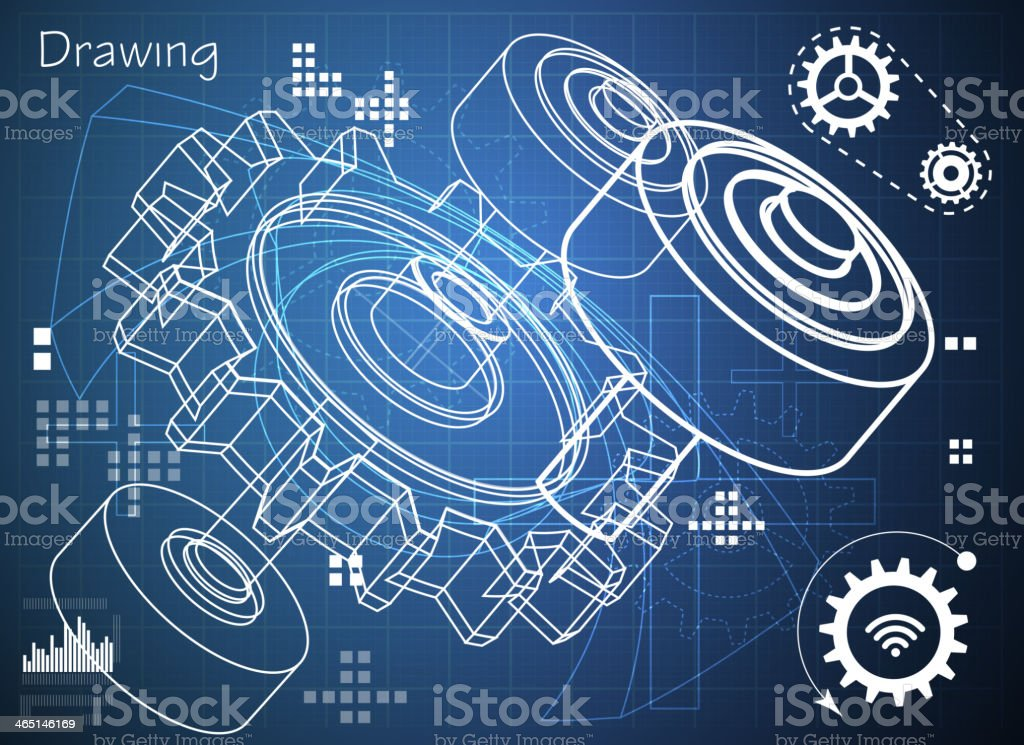 Technical Drawing of Machine Part vector art illustration