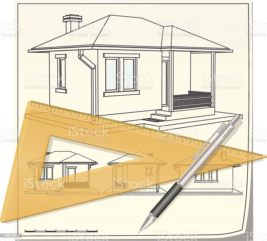 Technical drawing of the small house royalty-free stock vector art