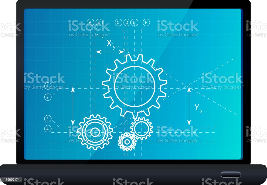 Technical Drawing on Laptop royalty-free stock vector art