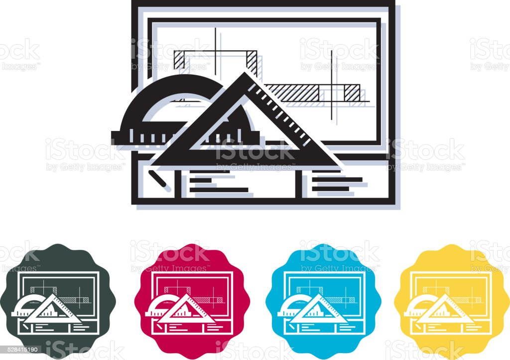 Technical Drawing Sheet - Icon vector art illustration